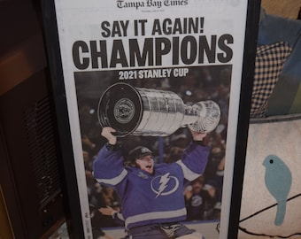 FREE SHIPPING Tampa Bay Lightning framed original newspaper 2021 Stanley Cup Champions solid rustic wood deep profile frame