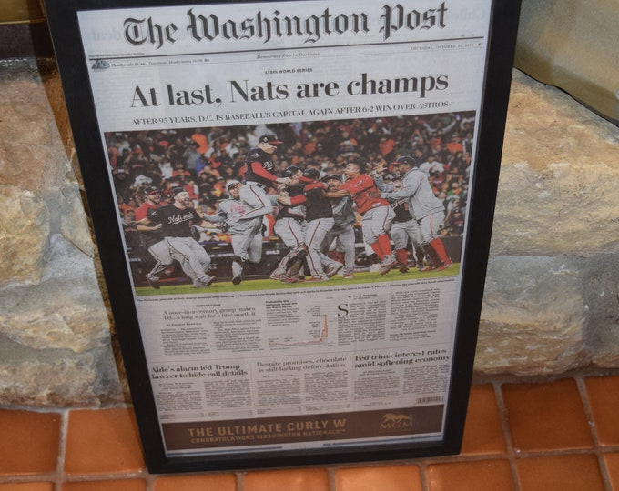 Featured listing image: FREE SHIPPING Washington Nationals 2019 World Series Champions Custom framed original  Washington Post newspaper