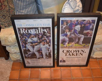 35db5997 FREE SHIPPING Kansas City Royals 2015 framed set newspapers World Series  Champions solid rustic cedar dark finish man cave