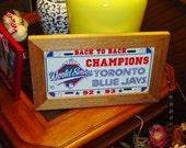FREE SHIPPING Rare Toronto Blue Jays 1993 License Plate Sign Framed cedar 6x12 metal display