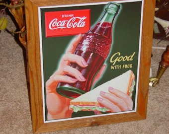 FREE SHIPPING Coca Cola custom framed solid cedar wood 15X18 man cave metal Drink sign oak finish country rustic wall hanging display