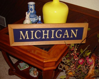 FREE SHIPPING Michigan large man cave custom lettered solid cedar wood framed sign oak finish country rustic bar display