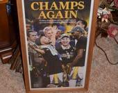 FREE SHIPPING Golden State Warriors 2017 NBA Champions Custom complete framed San Francisco Chronicle newspaper Oak Finish