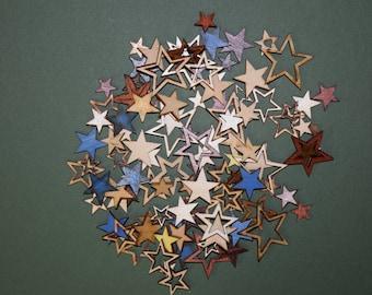 FREE SHIPPING 50 Star laser cut wood cutouts scrapbook craft embellishments multi color