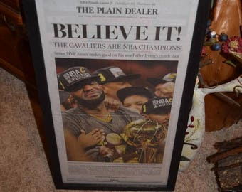 05e929ba2ba FREE SHIPPING Cleveland Cavaliers 2016 NBA Champions Custom complete framed  newspaper rustic solid cedar dark finish