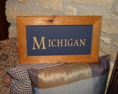 FREE SHIPPING Man cave Michigan custom lettered sign solid cedar wood framed oak finish country rustic bar display
