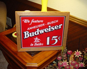 FREE SHIPPING Budweiser Beer 15 Cents retro custom framed solid cedar wood 15X18 man cave metal vintage bar sign oak finish rustic display