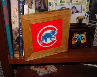 FREE SHIPPING Solid rustic cedar custom framed Chicago Cubs red logo oak finish fleece quilt square country display