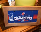 FREE SHIPPING Chicago Cubs World Series License Plate Sign Framed cedar 6x12 blue metal display