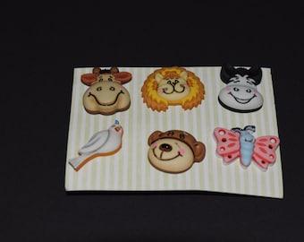 FREE SHIPPING Scrapbook craft embellishment buttons cow lion bear bird butterfly 6 count