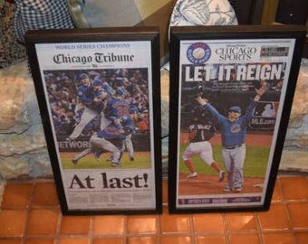 0cd174e798f FREE SHIPPING 2 Chicago Cubs 2016 framed original newspapers World Series  Champions solid rustic cedar Chicago Tribune