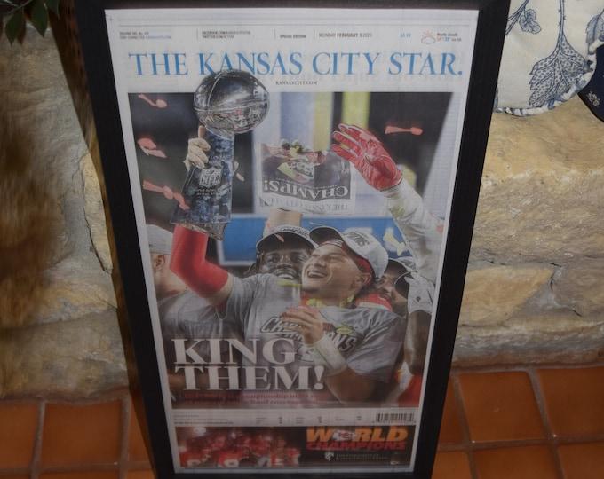 Featured listing image: FREE SHIPPING Kansas City Chiefs framed complete original newspaper Super Bowl LIV Champions solid rustic cedar dark finish
