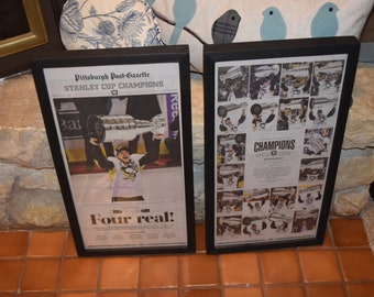 FREE SHIPPING 2 Set 2016  Pittsburgh Penguins Stanley Cup Champions Custom framed Pittsburgh Post Gazette newspapers