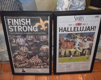 FREE SHIPPING 2 Rare 2010 New Orleans Saints Custom framed solid cedar original newspapers Super Bowl XLIV The Advocate