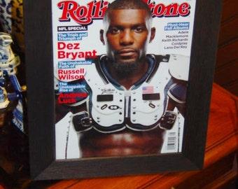FREE SHIPPING Dez Bryant Dallas Cowboys Rolling Stone magazine 1st NFL Issue original framed solid cedar dark finish