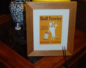 FREE SHIPPING Bull Terrier dog custom framed 8x10 matted print solid rustic cedar oak finish