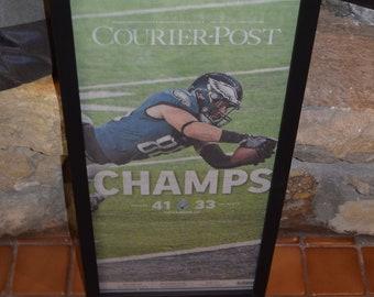 FREE SHIPPING  Philadelphia Eagles Custom framed solid wood original complete newspaper Super Bowl LII champions Courier Post