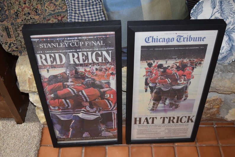 Finish Line Free Shipping Trick >> Free Shipping 2 Chicago Blackhawks 2015 Newspapers Custom Framed Solid Rustic Cedar Stanley Cup Champions Dark Finish Man Cave