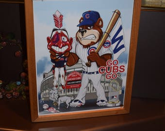 FREE SHIPPING Chicago Cubs custom framed 2016 World Series Champions Licensed 11x14 Photo Poster Solid Rustic Cedar