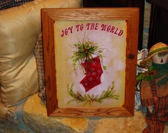 FREE SHIPPING Christmas custom framed solid cedar wood metal Joy to the World sign oak finish country rustic wall hanging display