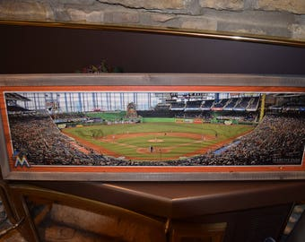 FREE SHIPPING Large Miami Marlins custom framed panoramic wood plaque sign Marlins Park stadium weathered finish