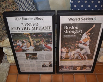 FREE SHIPPING 2013 Boston Red Sox  2 Custom framed solid wood original newspapers World Series Champions deep profile