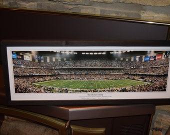 FREE SHIPPING Rare New Orleans Saints custom framed Stadium Panoramic Print The Homecoming rustic wood dark finish