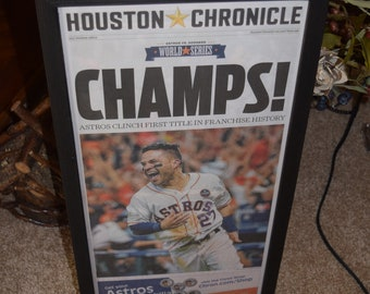 FREE SHIPPING Houston Astros 2017 World Series Champions framed newspaper complete original Houston Chronicle Stadium Edition Jose Altuve