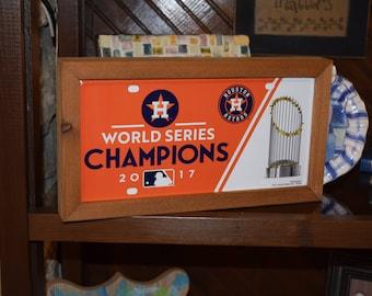 FREE SHIPPING Houston Astros Metal License Plate Tag Custom Framed solid cedar 2017 World Series Champions