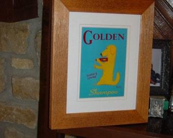 FREE SHIPPING Golden Retriever dog custom framed 8x10 matted print solid rustic cedar oak finish