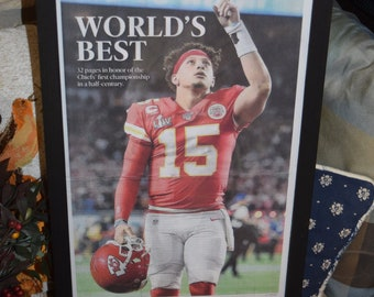 FREE SHIPPING Kansas City Chiefs framed complete newspaper Super Bowl LIV Champions Special Commemorative Section