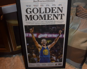 FREE SHIPPING 2015 Golden State Warriors framed newspaper solid wood NBA champions dark finish