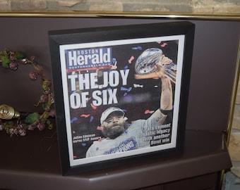 FREE SHIPPING New England Patriots framed newspaper Super Bowl LIII Champions complete Boston Herald Julian Edelman