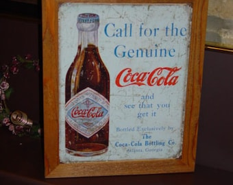 FREE SHIPPING Coca Cola custom framed solid cedar wood 15X18 man cave metal Genuine sign oak finish country rustic wall hanging display