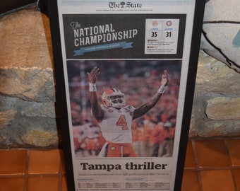 FREE SHIPPING Clemson University framed original complete newspaper solid wood 2016 NCAA Football Champions The State