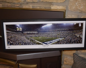 FREE SHIPPING Indianapolis Colts panoramic framed print solid cedar wood dark finish rustic display Inaugural Game Lucas Oil