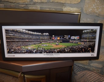 FREE SHIPPING New York Yankees 2009 World Series Champions panoramic framed print solid wood dark finish rustic display