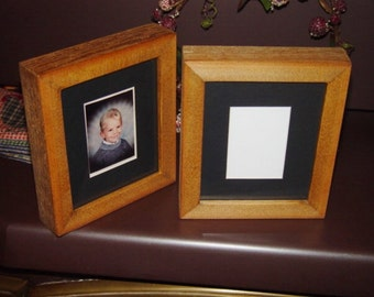 FREE SHIPPING School size picture photo frame solid rustic cedar wood matted craft oak finish deep profile display