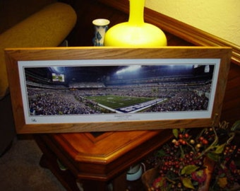 FREE SHIPPING Indianapolis Colts panoramic framed print solid cedar wood oak finish rustic display Inaugural Game Lucas Oil Stadium