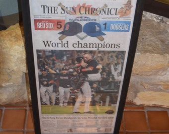 FREE SHIPPING 2018 Boston Red Sox original framed complete newspaper World Series Champions 1st Edition Sun Chronicle