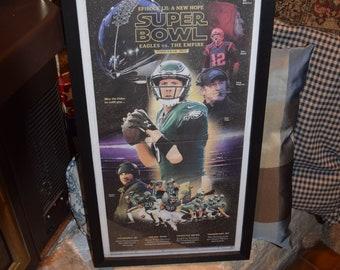 FREE SHIPPING Rare 2/2/18  Philadelphia Eagles framed solid wood original complete newspaper Super Bowl LII Star Wars Themed