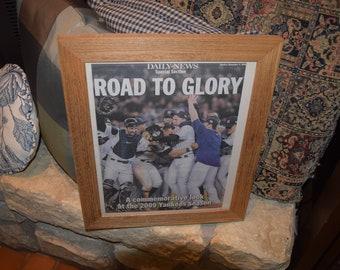 FREE SHIPPING Rare 2009 New York Yankees custom framed complete original newspaper oak finish World Series Champs