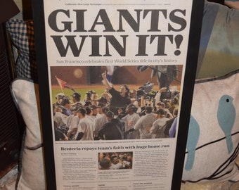 FREE SHIPPING 2010 San Francisco Giants original newspaper framed solid rustic wood World Series Champions