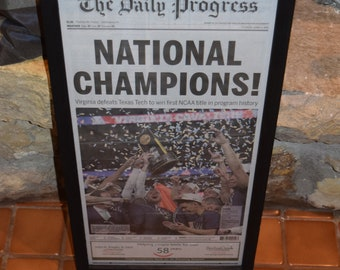 FREE SHIPPING  University of Virginia framed original newspaper 2019 NCAA Basketball National Champions