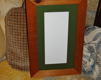 FREE SHIPPING Solid cedar 4x10 frame green matted picture photo craft oak finish country rustic panoramic display