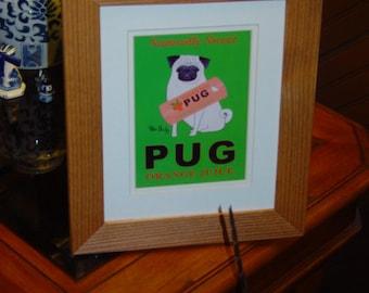 FREE SHIPPING Pug dog custom framed 8x10 matted print solid rustic cedar oak finish