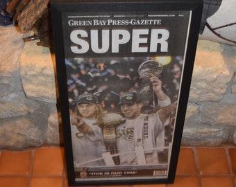 Free Shipping Rare 2011 Green Bay Packers Custom framed solid cedar original newspaper Super Bowl XLV champions SUPER