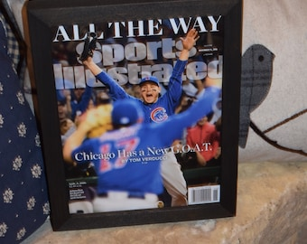FREE SHIPPING Rare Chicago Cubs framed 2016 Sports Illustrated New G.O.A.T World Series
