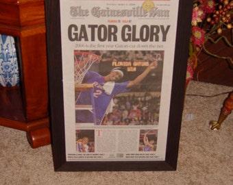 FREE SHIPPING Rare University of Florida custom framed original newspaper 2006 NCAA champions souvenir edition