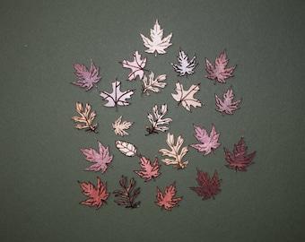 FREE SHIPPING 40 leaf laser cut wood cutouts scrapbook craft embellishments multi color